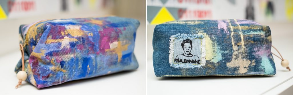 Taschenspieler 4 Sew Along Popup Tasche Farbenmix aus Jeans mit Acrylfarbe Upcycling